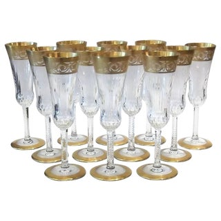 Saint Louis Thistle Pattern Gold Encrusted Champagne Flutes - Set of 12 For Sale