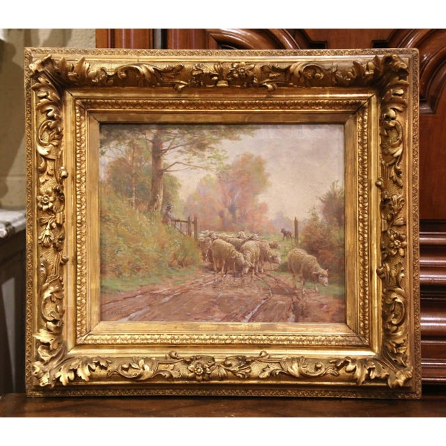 19th Century French Sheep Painting in Carved Gilt Frame Signed Charles Clair For Sale - Image 12 of 12