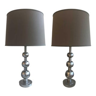 Tommi Parzinger Stacked Orb Table Lamps - a Pair For Sale