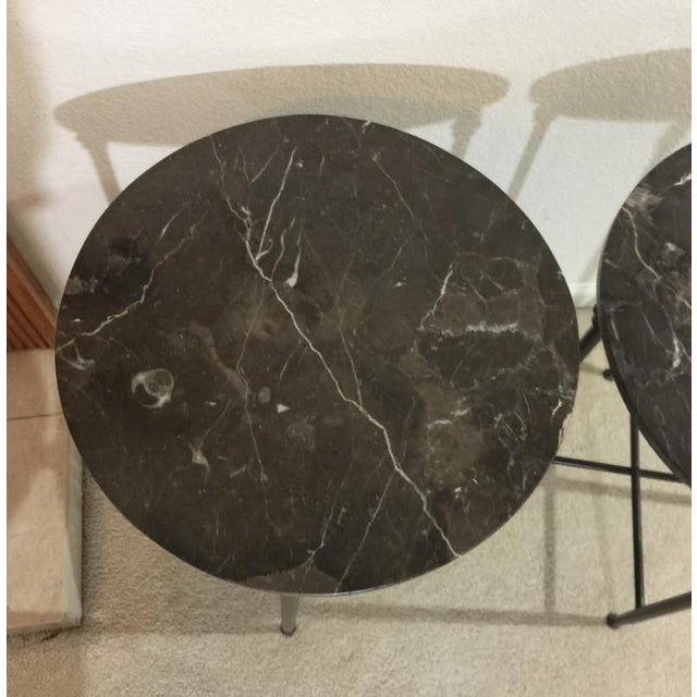 Mid Century Modern Black Metal and Black Marble Round Accent Tables - a Pair For Sale In Sacramento - Image 6 of 7