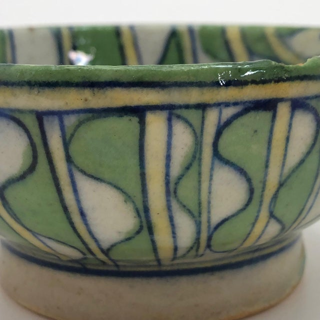 Early 20th Century Green and White Patterned Tin Glazed Small Ceramic Bowl For Sale - Image 9 of 13