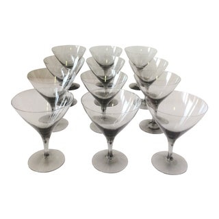 Vintage Smoke Gray Martini Glasses - For Sale