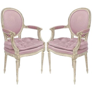 Incredible Pair of 1960s Louis XVI Style Armchairs For Sale