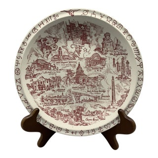 1940s Vintage Vernon Kilns' Texas State Collector's Plate For Sale