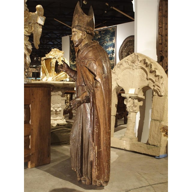 17th Century Large Antique Polychromed Wood Statue of a Bishop, Circa 1650 For Sale - Image 5 of 12
