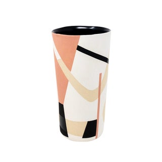 Mid-Century Style Handmade Ceramic Tumbler - Pink For Sale