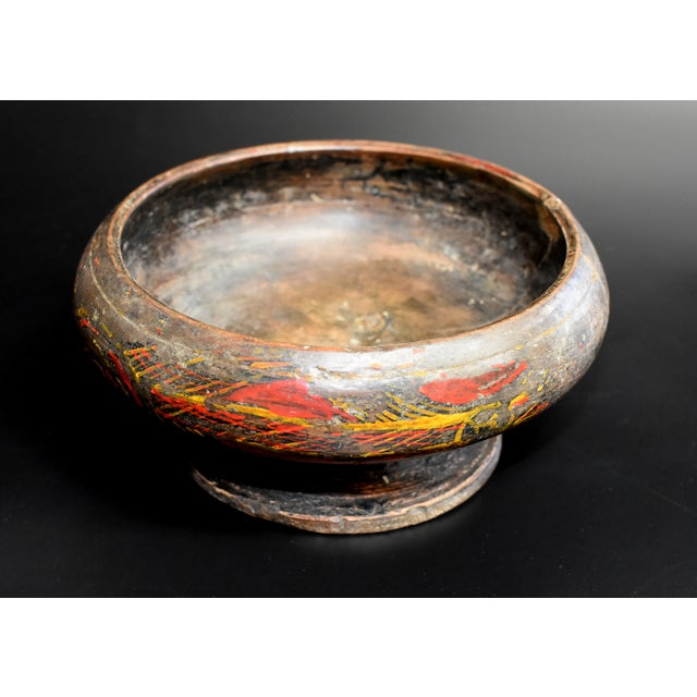 Beautiful Tibetan antique wooden bowl is carved out of one piece of wood. Hand painted wheat motif symbolizes harvest and...