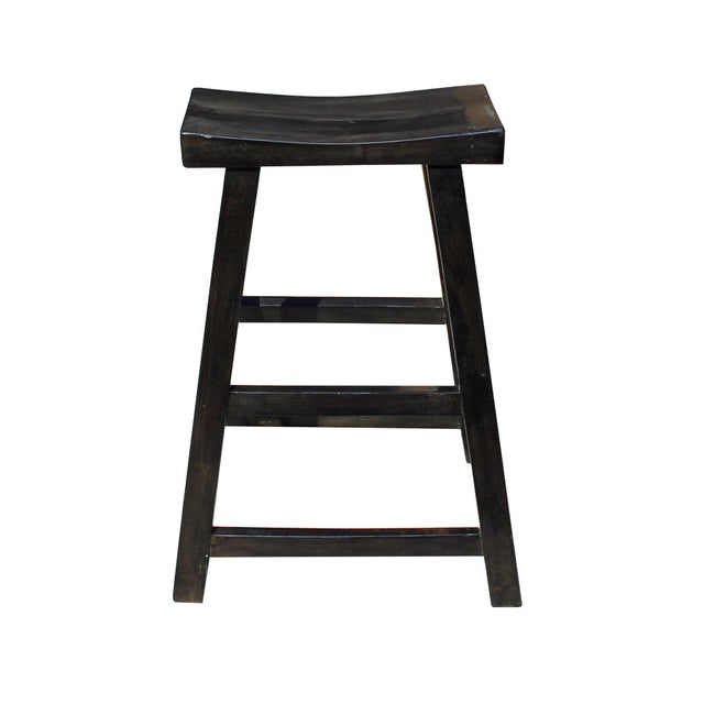 Wood Simple Distressed Semi Gloss Black Tall Wood Stool Bar Stool For Sale - Image 7 of 7