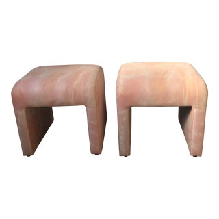Directional Waterfall Upholstered Footstools - A Pair