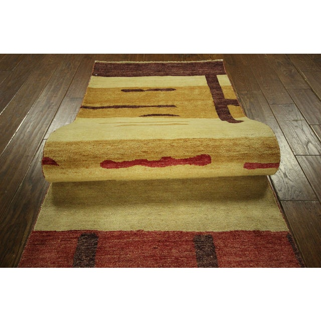 "Abstract Modern Runner Gabbeh Rug - 2'6"" x 10'1"" - Image 8 of 9"