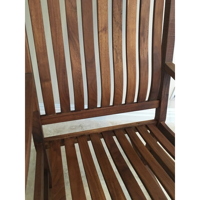 2000s Americana Cambridge Teak Rocking Chair For Sale - Image 10 of 13