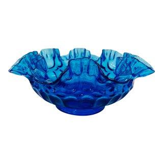 Vintage Fenton Blue Art Glass Crimped Double Edge Dish For Sale