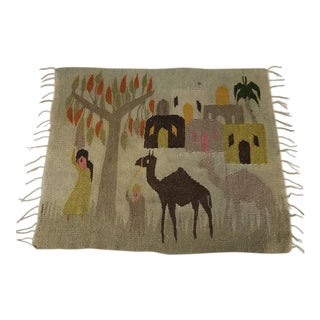 Mid-Century Wall Tapestry Desert Village For Sale
