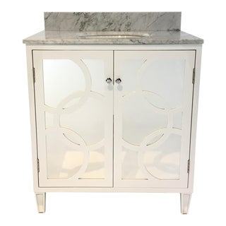 World's Away Modern White and Gray Mirror and Marble Lilith Bath Vanity For Sale