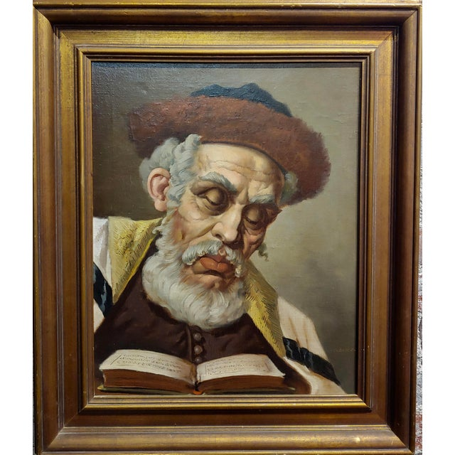 Lajos Polczer - Portrait of a Patriarch Rabbi -oil painting oil painting on canvas -signed circa 1950/60s Artist Biography...