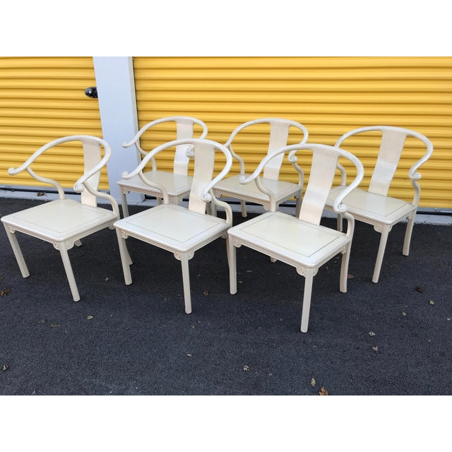 Wood Antique Chinese Ming White Lacquer Horseshoe Dining Chairs - Set of 6 For Sale - Image 7 of 9