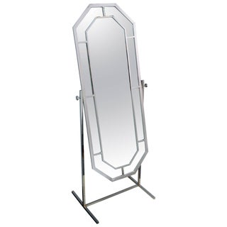 1970's Milo Baughman Chrome Standing Dressing Mirror For Sale