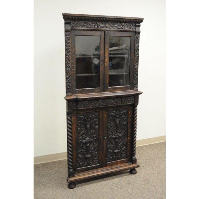 d3bb50fdfb91 Belgian Antique Corner China Cabinet Cupboard Renaissance Revival Belgian  Carved Oak For Sale - Image 3