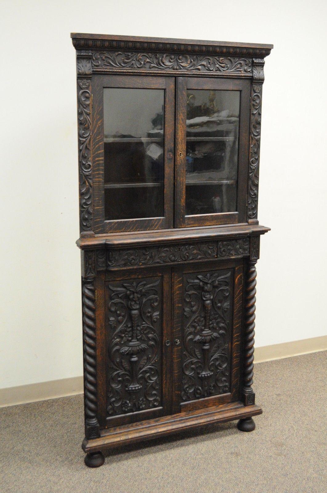 Antique Corner China Cabinet Cupboard Renaissance Revival Belgian Carved  Oak   Image 3 Of 12