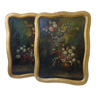 18th Century Baroque Style Multi-Color Floral Paintings on Canvas - a Pair For Sale