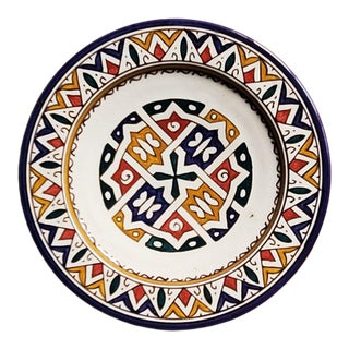 Moroccan Hand Painted Pottery Multi-Color 1 Plate For Sale