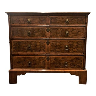 "Antique English Early 19th Century ""Oyster Veneer"" Walnut Chest, Circa 1820-1830. For Sale"