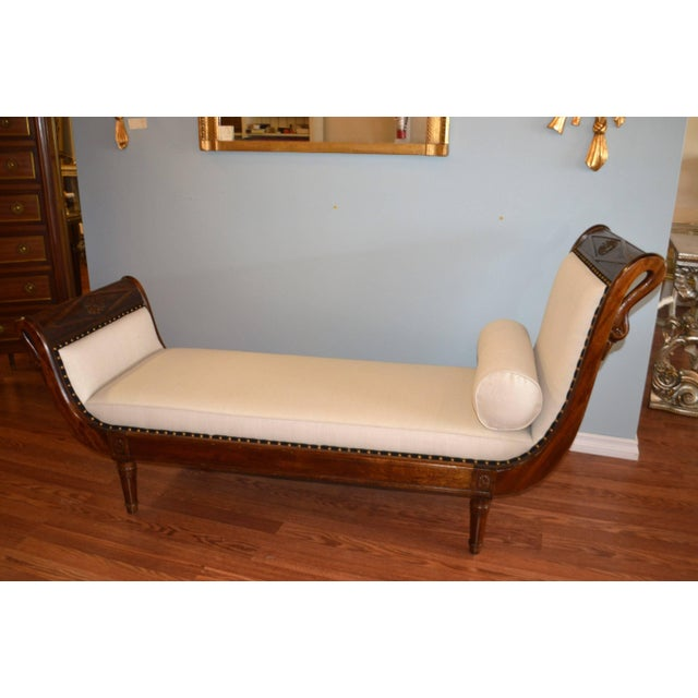 Empire Style Mahogany Chaise With Hand-Carved Swan Motif For Sale In Buffalo - Image 6 of 9