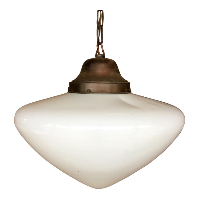 art deco milk glass brass pendant light chairish