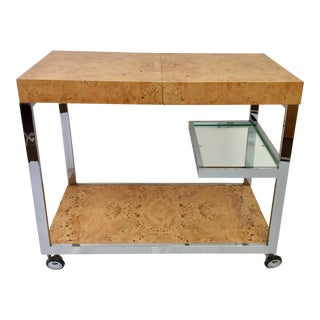 1970s Vintage Milo Baughman Burl Wood Bar Cart For Sale