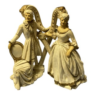 1950s Universal Statuary Corp Statue of Man and Women With Harps Model R 052 - 3 Piece Set For Sale