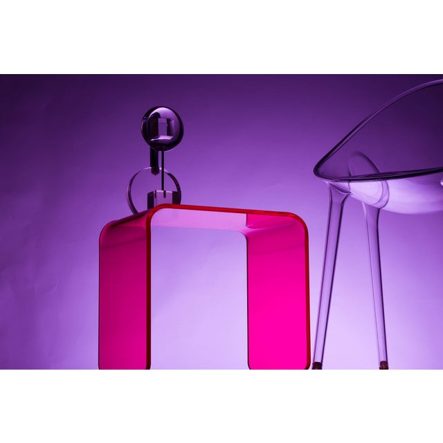 """Magenta """"The Side Piece"""" Side Table in Neon Pink For Sale - Image 8 of 8"""