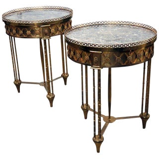 Pair of Directoire Bronze Marble Top Gueridons For Sale