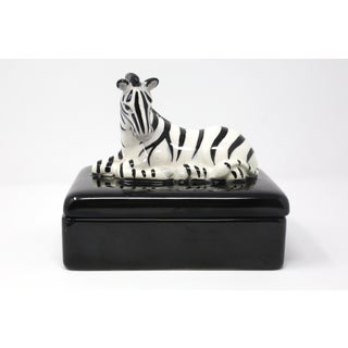 Vintage Fitz and Floyd Playing Card Zebra Box Ceramic Preview