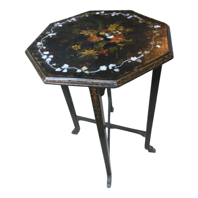 Antique Paper Mache Table With Inlay Mother of Pearl For Sale