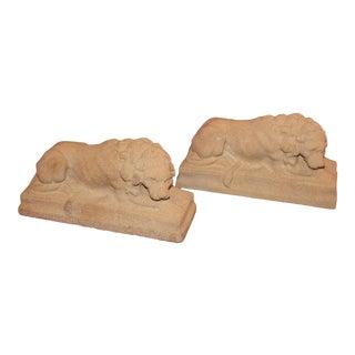 Vintage Haddonstone Small Lion Desk Sculptures - a Pair For Sale