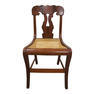 19th Century Antique Walnut Burl Federal Empire Cane Seat Dining Side Chair For Sale