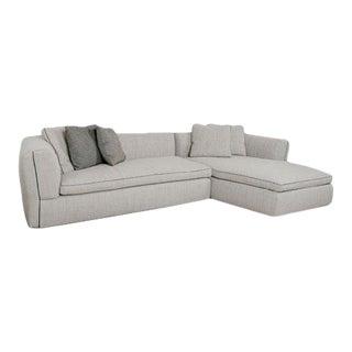 Cassina Nubby Woven Pearl Colored Upholstered Italian Made Sectional Sofa For Sale