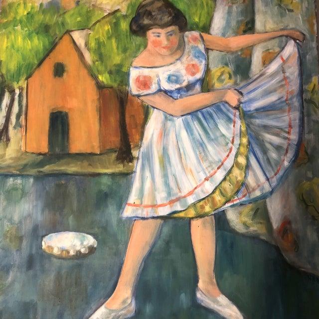 Original Mid Century Modernist Painting Dancer Signed For Sale - Image 4 of 6