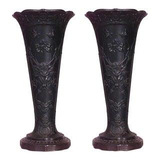 English Black Basalt Earthenware Vases - a Pair For Sale