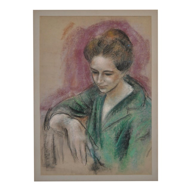 "Dan Dickey ""Woman in Green"" Vintage Pastel Portrait c.1940s For Sale"