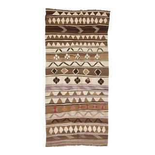 Brown Turkish Wool Kilim Rug For Sale