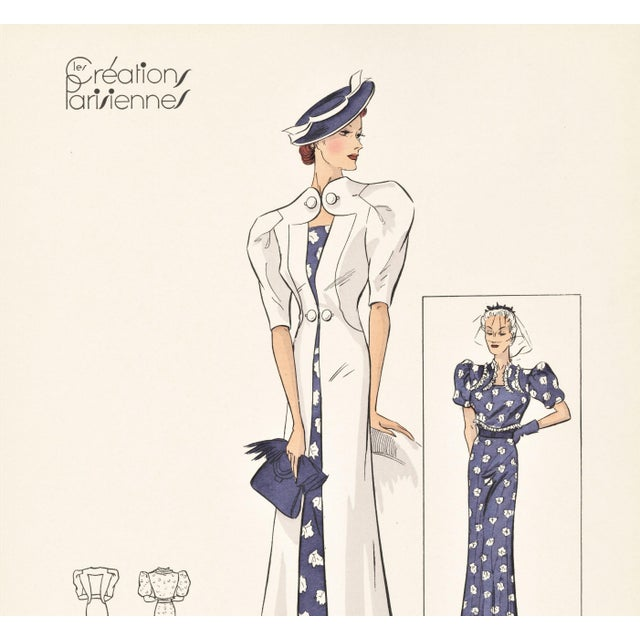 "This is a fabulous Art Deco fashion plate from a series of fashion designs from an unbound collection, ""Creations..."