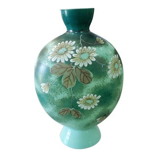 Late 19th Century English Victorian Bristol Glass Light Jade Floral Motif Vase For Sale