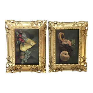 Vintage Fruit Still Life Oil Paintings in Gilt Carved Wood Frames - A Pair