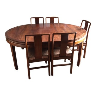 "Chinese 56"" Diameter Round Rosewood Dining Set For Sale"