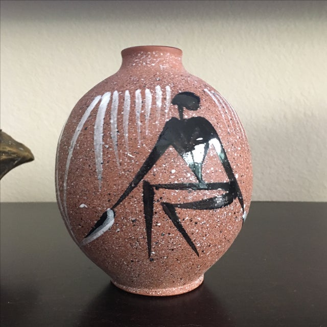 Mid Century Modern Abstract Hand Painted Vase - Image 4 of 8