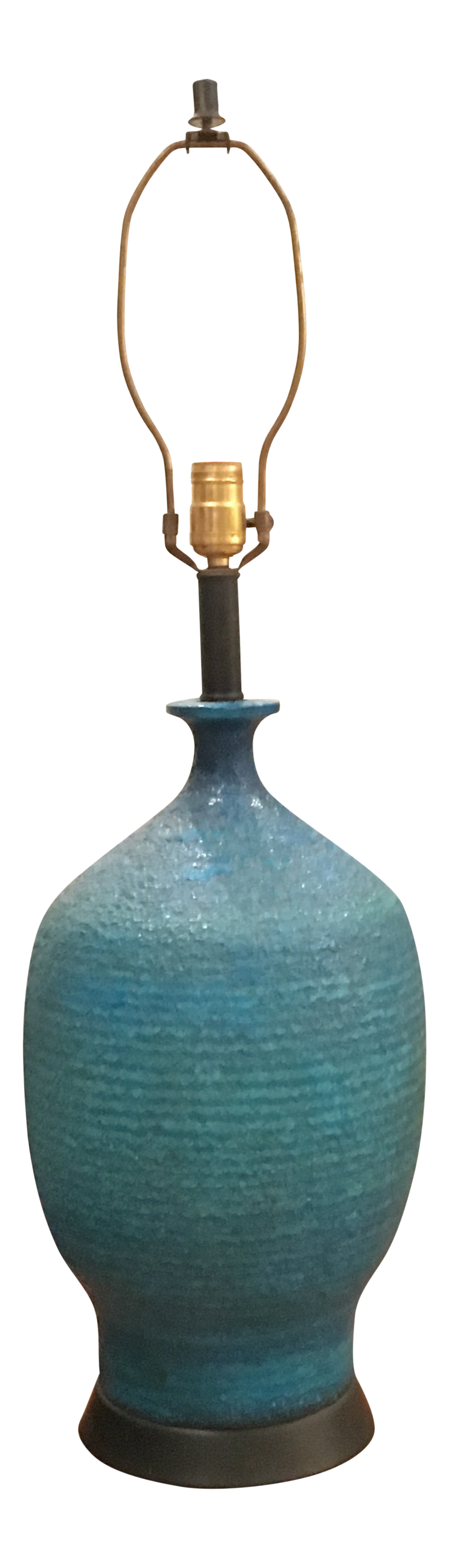 1960s Vintage Turquoise Ribbed Ceramic Table Lamp Chairish