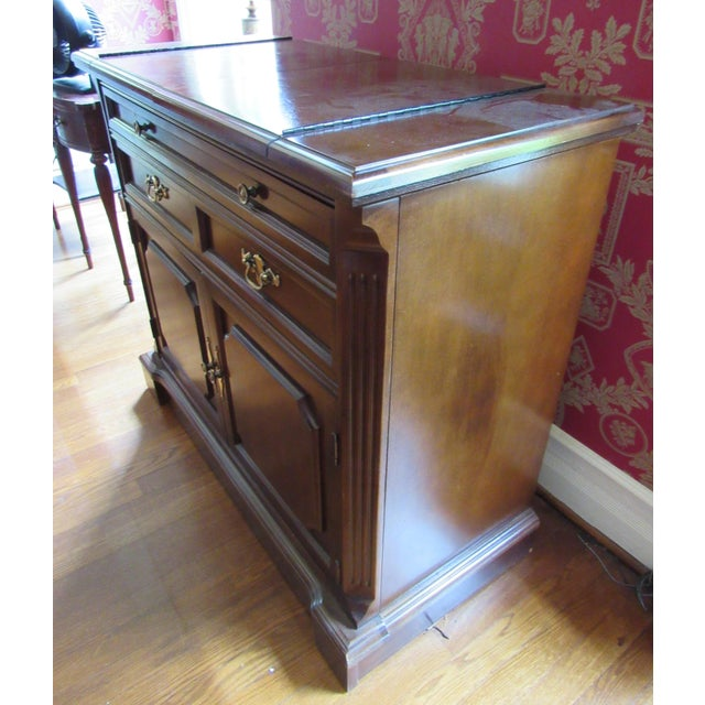Bassett Furniture Vintage Bassett Flip Top Cherry Server Bar Cabinet For Sale - Image 4 of 10