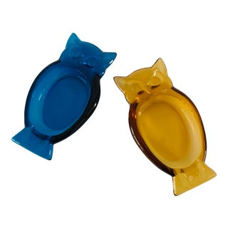 Viking Blenko Owl Glass Ashtrays - Set of 2 For Sale