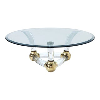 Maison Jansen Style Lucite and Brass Coffee Table For Sale